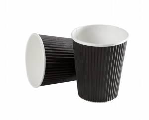Kaffebæger Black line Ripple wall pap Sort 12oz (34cl) - 600stk