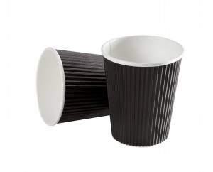 Kaffebæger Black line Ripple wall pap Sort 16oz (45cl) - 600stk