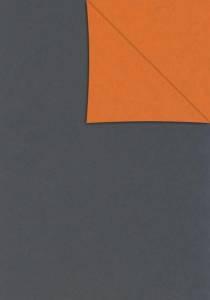 Gavepapir Dark grey/orange dobbelt sidet papir 55cmx150m