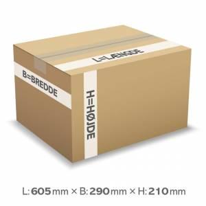 Bølgepapkasse 605x290x210mm 1-lags 3mm bølgepap - 37L