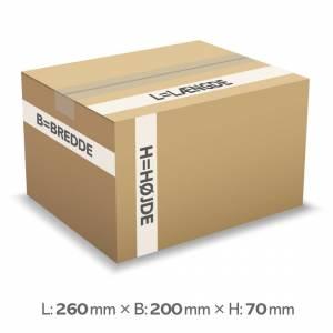Bølgepapkasse 260x200x70mm 9025 - 3L - 3mm