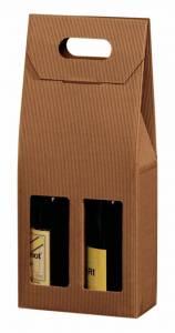Vinemballage brun åben bølge gaveæske til 2fl. 3/4L  - 20 stk