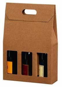 Vinemballage brun åben bølge gaveæske til 3fl. 3/4L - 20 stk