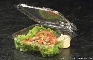 Plastbakke (V00535) OPS m/hængslet låg salat m/dressingkop - 220stk/kar