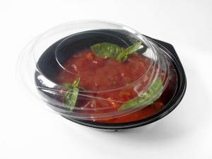 Plastbakke (V490) A-PET rund salatbowle sort 400ml - 400stk/ka