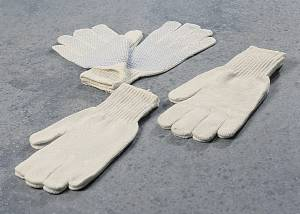Handsker strik hvide m/dotter str. 10 12par/pak