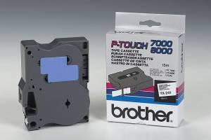 Labeltape Brother TX-241 18mmx15m sort på hvid lamineret