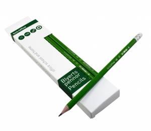 Blyant HB grøn m/viskelæder - 12stk/pak