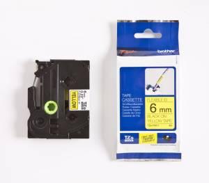 Brother TZe-FX611 Lamineret Flex tape 6mm x 8m - sort på gul