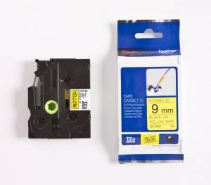 Brother TZe-FX621 Lamineret Flex tape 9mm x 8m - Sort på gul