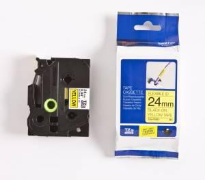 Brother TZe-FX651 Lamineret Flex tape 24mm x 8m - Sort på gul