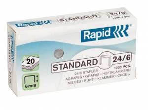 Hæfteklamme galvaniseret 24/6 Rapid Standard - 1000stk/pak