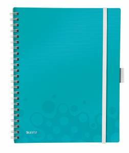 Notesblok Be Mobile Leitz WOW A4 Linieret 80ark, elastikluk. 3-klap Isblå