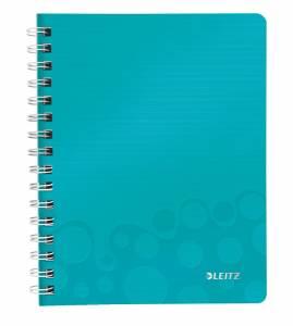 Notesblok PP m/ lomme & lineal Leitz WOW A5 linieret 80ark - Isblå