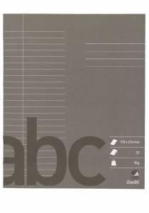 Skolehæfte Bantex 17x21cm lin 24 linjer 32bl 70g antracitgrå