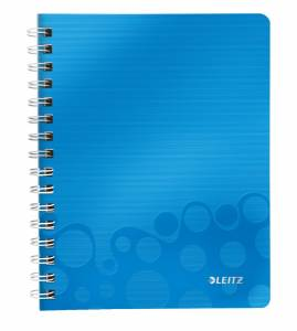 Notesblok PP m/ lomme & lineal Leitz WOW A5 linieret 80ark - Blå