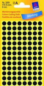 Etiket Avery (3009) rund Ø:8mm Sort - 416stk/pak