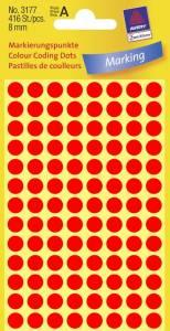 Etiket Avery (3177) rund Ø:8mm Neon rød - 416stk/pak
