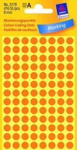 Etiket Avery (3178) rund Ø:8mm Neon orange - 416stk/pak