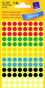 Etiket Avery (3090) rund Ø:8mm ass. farver - 416stk/pak