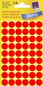 Etiket Avery (3147) runde Ø:12mm Neon rød - 270stk/pak