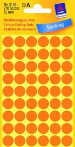Etiket Avery (3148) runde Ø:12mm Neon orange - 270stk/pak