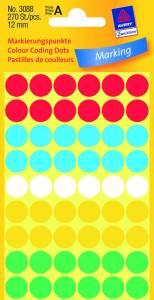 Etiket Avery (3088) runde Ø:12mm ass. farver - 270stk/pak