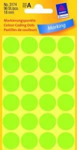 Etiket Avery (3174) runde Ø:18mm Neon grøn - 96stk/pak