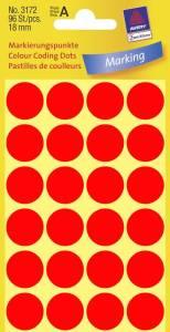 Etiket Avery (3172) runde Ø:18mm Neon rød - 96stk/pak