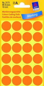 Etiket Avery (3173) runde Ø:18mm Neon orange - 96stk/pak