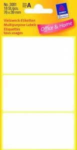 Etiket Avery (3081) håndskrivning hvid 76x39mm - 18stk/pak