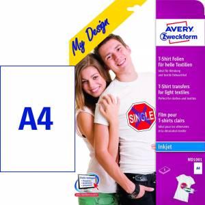 Tekstil transfers A4 t/ lyse tekstiler  - 5ark/pak