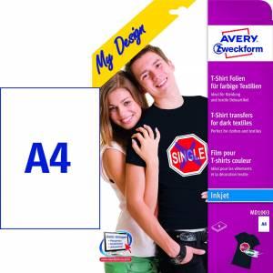 Tekstil transfers A4 t/ mørke tekstiler - 5ark/pak
