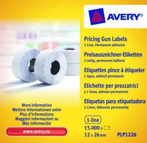 Prisetiketter Avery (PLP1226) 26x12mm perm.klæb 1 linje Hvid
