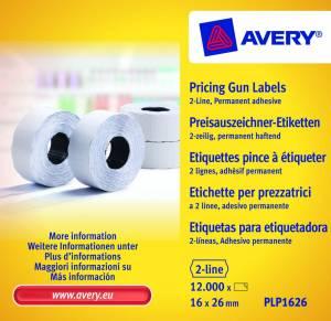 Prisetiketter Avery (PLP1626) 26x16mm perm.klæb 2 linjer hvid