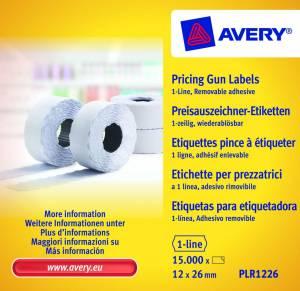 Prisetiketter Avery (PLR1226) 26x12mm aftagelig 1 linje hvid