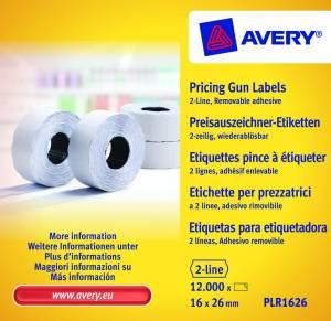 Prisetiketter Avery (PLR1626 ) 26x16mm aftagelig 2 linjer hvid