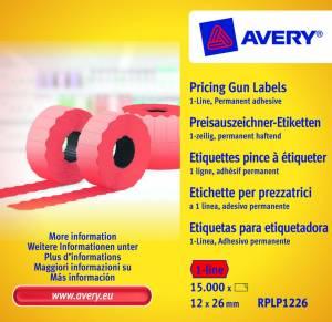 Prisetiketter Avery (RPLP1226 ) 26x12mm perm.klæb 1 linje Rød