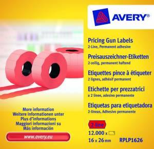 Prisetiketter Avery (RPLP1626) 26x16mm perm.klæb 2 linjer rød