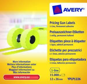 Prisetiketter Avery (YPLP1226) 26x12mm perm.klæb 1 linje Gul