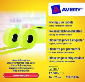 Prisetiketter Avery (YPLP1626 ) 26x16mm perm.klæb 2 liner gul
