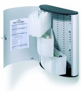 Førstehjælpsskab Durable m/indhold L First aid box alu