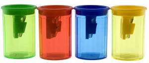 Blyantspidser med beholder transparent m/farvet top