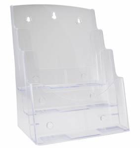 Brochureholder BNT bord/væg A4 3-rum 297x210mm - Transp.