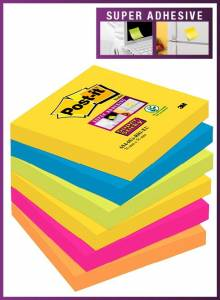 Post-it Super Sticky Notes 76x76mm Rio - 6blk/pk