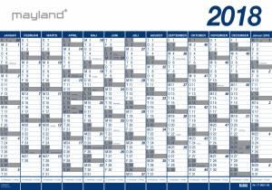 MAYLAND Kæmpekalender 2018!! PLAST 100x70cm, 1x13mdr.
