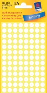 Etiket Avery (3175) rund Ø:8mm Hvid - 416stk/pak