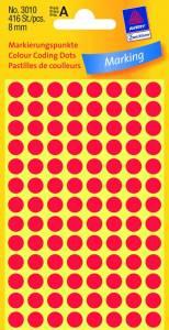 Etiket Avery (3010) rund Ø:8mm Rød - 416stk/pak