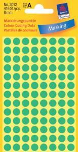 Etiket Avery (3012) rund Ø:8mm grøn - 416stk/pak