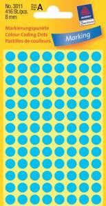 Etiket Avery (3011) rund Ø:8mm Blå - 416stk/pak